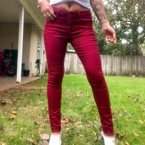Red and black snakeskin pants